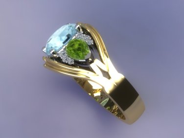 Aqua peridot diamond mothers ring side details