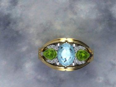 Aqua peridot diamond mothers ring top